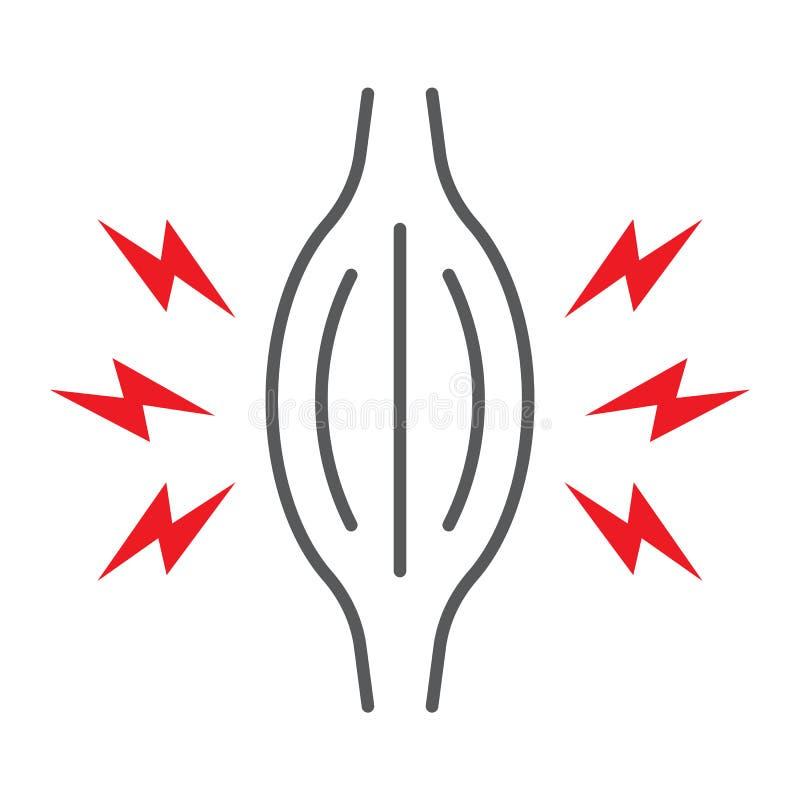 Dunne de lijnpictogram van de spierpijn, lichaam en zieken, het teken van de spierpijn, vectorafbeeldingen, een lineair patroon o stock illustratie