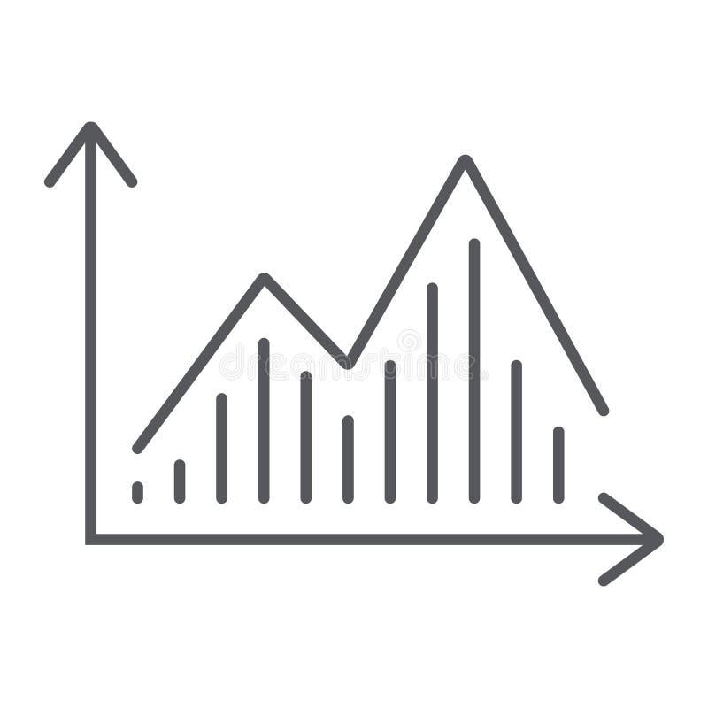 Dunne de lijnpictogram van de voorraadgrafiek, grafiek en financiën, het teken van het statistiekdiagram, vectorafbeeldingen, een stock illustratie