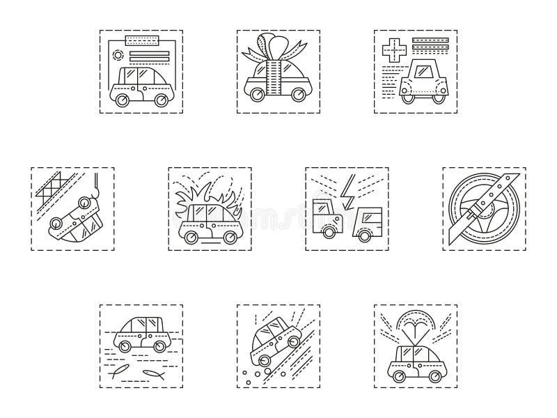 Dunne de lijnpictogrammen van het autoverzekeringsbedrijf royalty-vrije illustratie