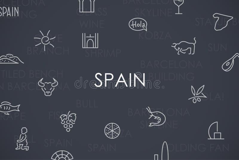 Dunne de Lijnpictogrammen van Spanje stock illustratie