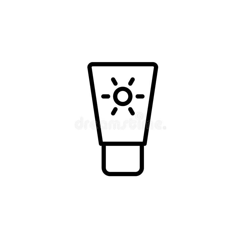 dunne de lijnzwarte van het zonneschermpictogram op witte achtergrond stock illustratie