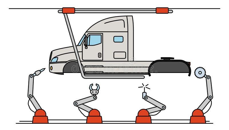 Dunne de vrachtwagenlopende band van de lijnstijl De automatische transportband van de vervoerproductie royalty-vrije illustratie