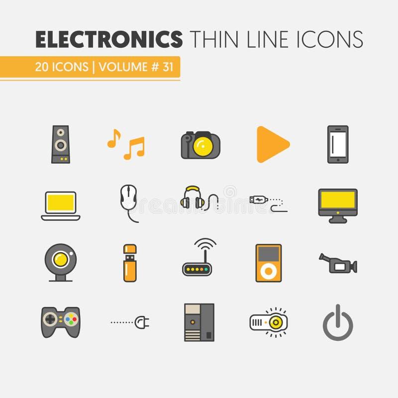 Dunne die de Lijnpictogrammen van de elektronikatechnologie met Computer en Gadgets worden geplaatst vector illustratie