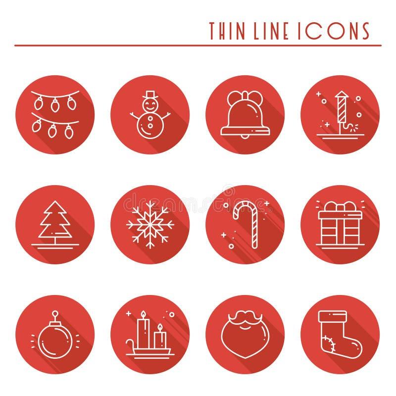 Dunne die de lijnpictogrammen van de Kerstmisvakantie met lange schaduw worden geplaatst Het overzichtsinzameling van de nieuwjaa stock illustratie