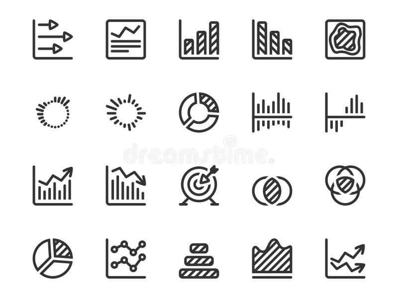 Dunne die lijnpictogrammen voor analyse, statistieken, analytics worden geplaatst royalty-vrije illustratie