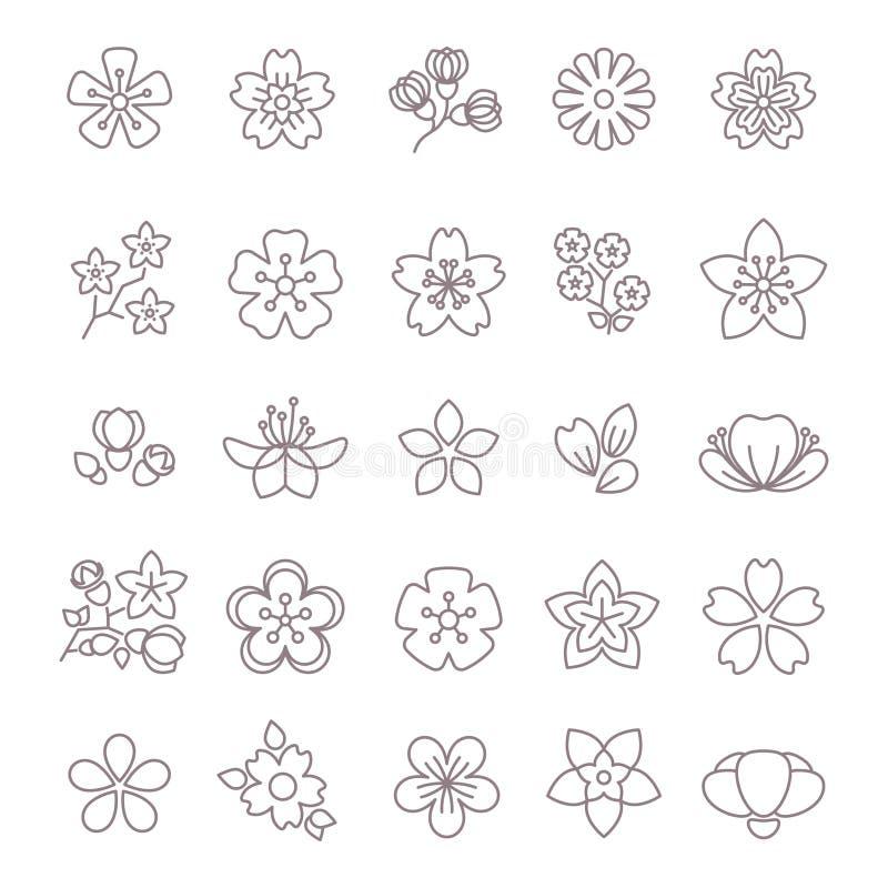 Dunne geplaatste de lijn vectorpictogrammen van de de lentebloem vector illustratie