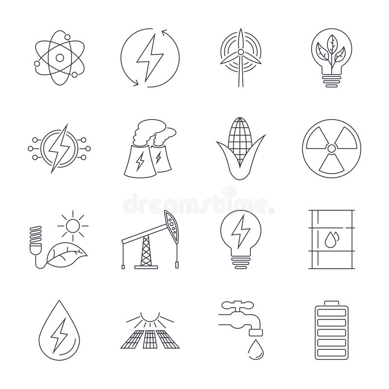 Dunne geplaatste Lijnpictogrammen Pictogrammen voor duurzame energie, groene technologie royalty-vrije illustratie