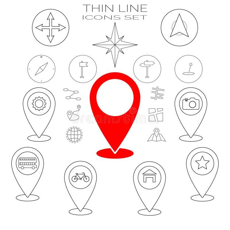Dunne geplaatste Lijnpictogrammen Rood pictogram hier en huisgps geoplaats, navigatie, vervoer Bus en bycycle vervoer, compas kaa vector illustratie