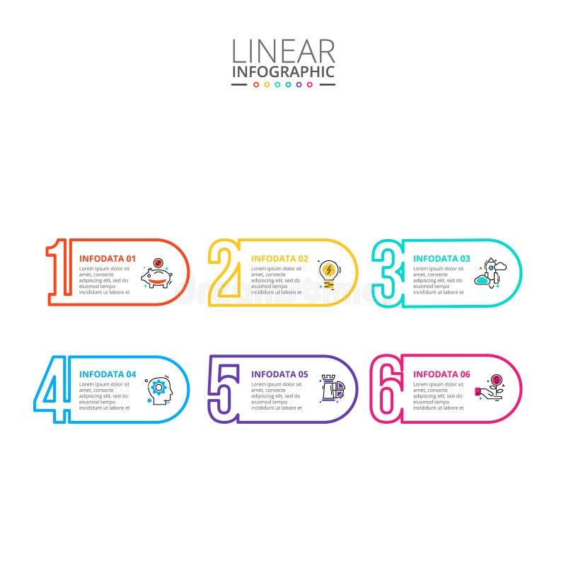 Dunne infographic lijn vlakke aantallen Malplaatje voor diagram, grafiek, presentatie en grafiek Bedrijfsconcept met 6 opties stock afbeelding