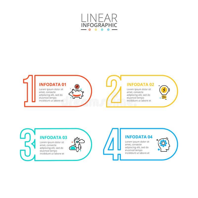 Dunne infographic lijn vlakke aantallen Malplaatje voor diagram, grafiek, presentatie en grafiek Bedrijfsconcept met 4 opties royalty-vrije stock afbeeldingen