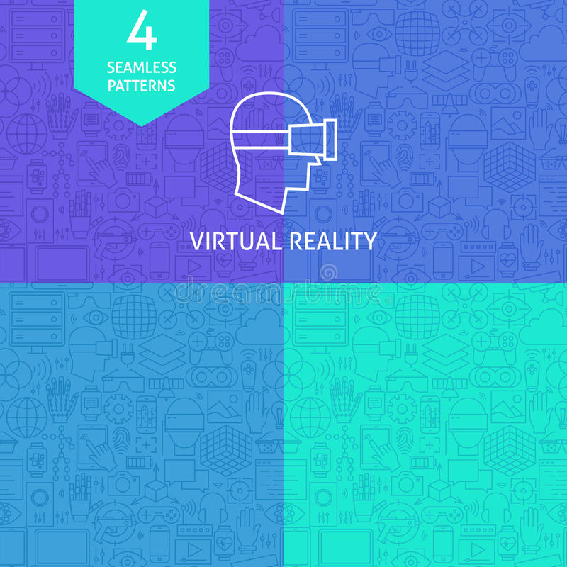 Dunne Lijn Art Virtual Reality Pattern Set stock illustratie