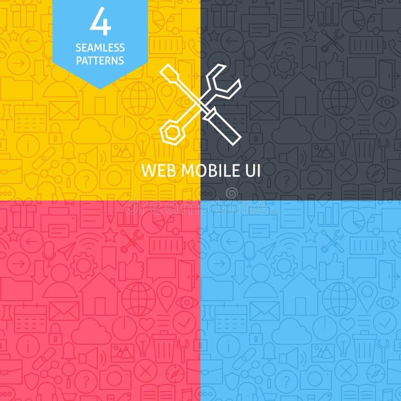 Dunne Lijn Art Web en de Mobiele Reeks van het GebruikersinterfacePatroon royalty-vrije illustratie