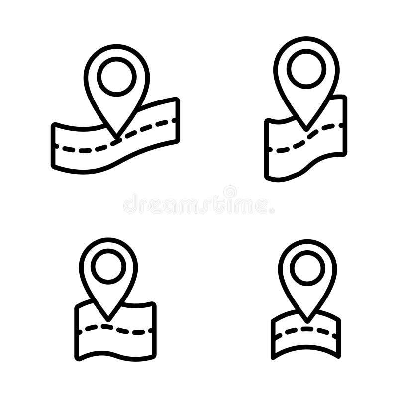 Dunne lijn google kaart, speldpunt, plaatspictogrammen royalty-vrije illustratie