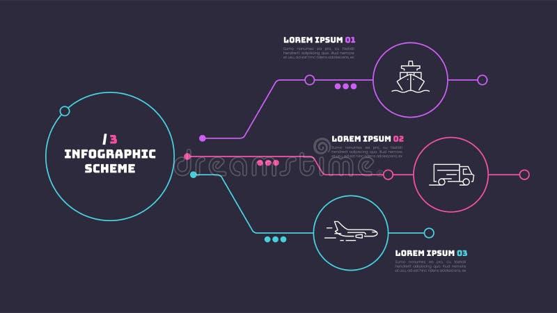 Dunne lijn infographic regeling met 3 opties Vectormalplaatje voor stock illustratie