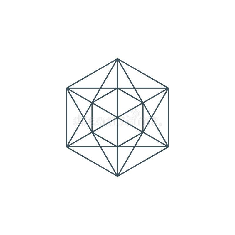 Dunne lijn metatrons kubus, heilige meetkunde stock illustratie