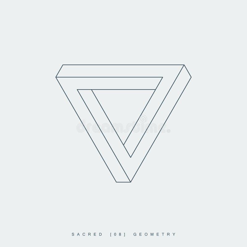 Dunne lijn penrose driehoek, heilige meetkunde royalty-vrije illustratie