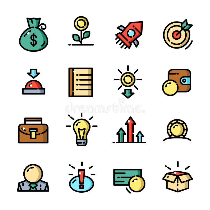Dunne lijn Start geplaatste pictogrammen, vectorillustratie royalty-vrije illustratie