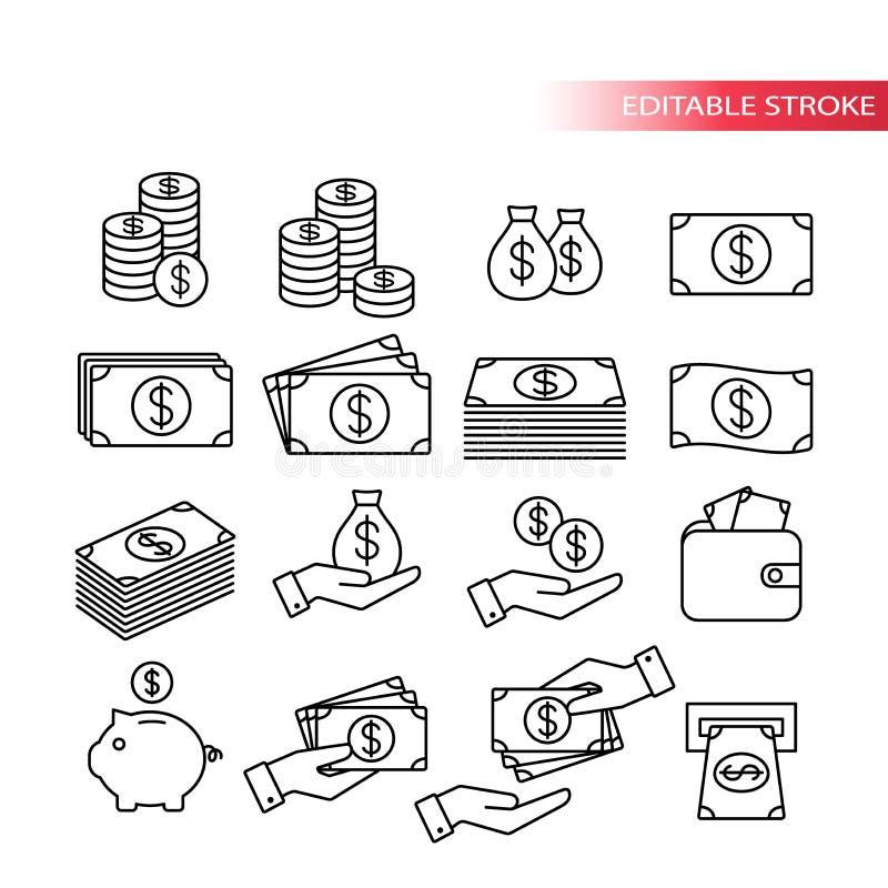 Dunne lijn, volledig editable pictogramreeks Geldpictogrammen Geldstapel, muntstukstapel, spaarvarken, portefeuille met geld, han vector illustratie
