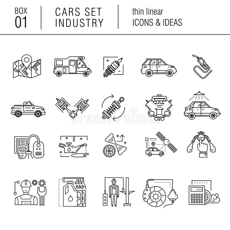 Dunne lijnauto-industrie in moderne stijl stock illustratie