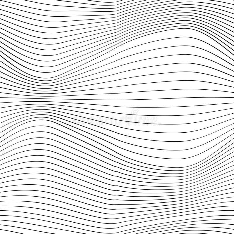 Dunne lijngolven, elegant optisch ontwerp, vector stock illustratie