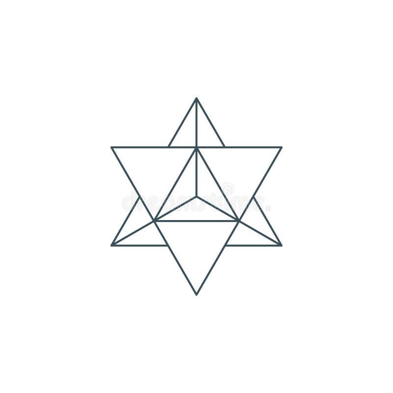 Dunne lijnmerkaba, heilige meetkunde stock illustratie