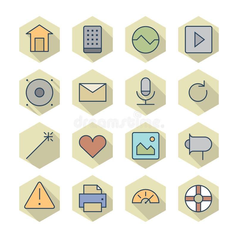 Download Dunne Lijnpictogrammen Voor Interface Vector Illustratie - Illustratie bestaande uit muziek, huis: 39101297