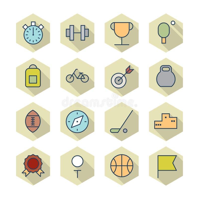 Download Dunne Lijnpictogrammen Voor Sport Vector Illustratie - Illustratie bestaande uit knopen, grafiek: 39101619