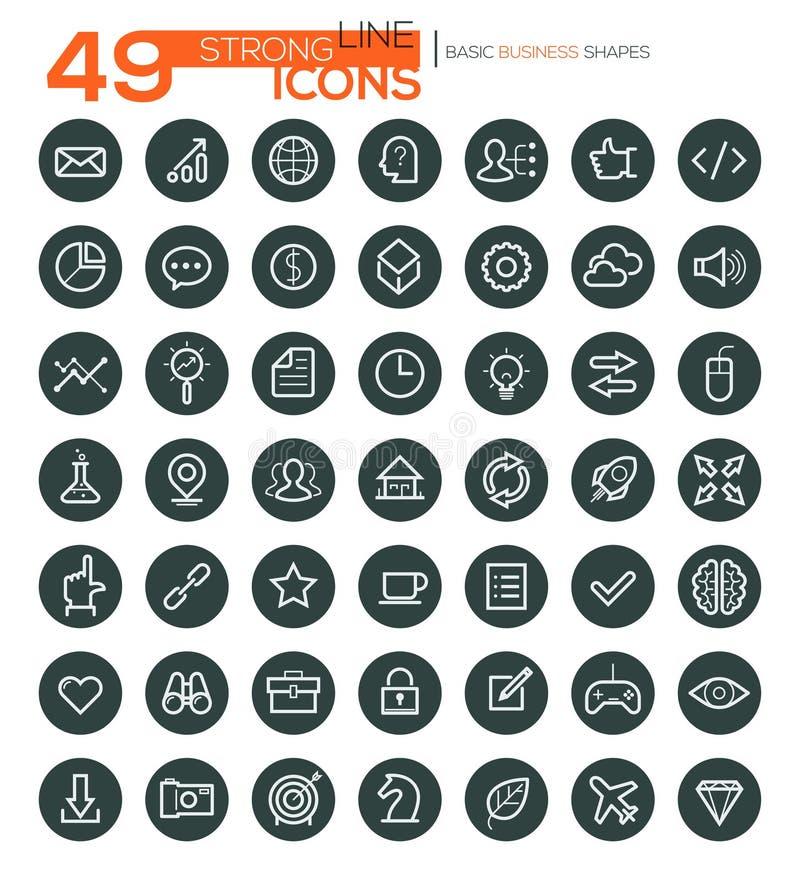 Dunne Lijnpictogrammen voor Zaken, Interface, Vrije tijd en Voedsel Vector eps10 royalty-vrije illustratie