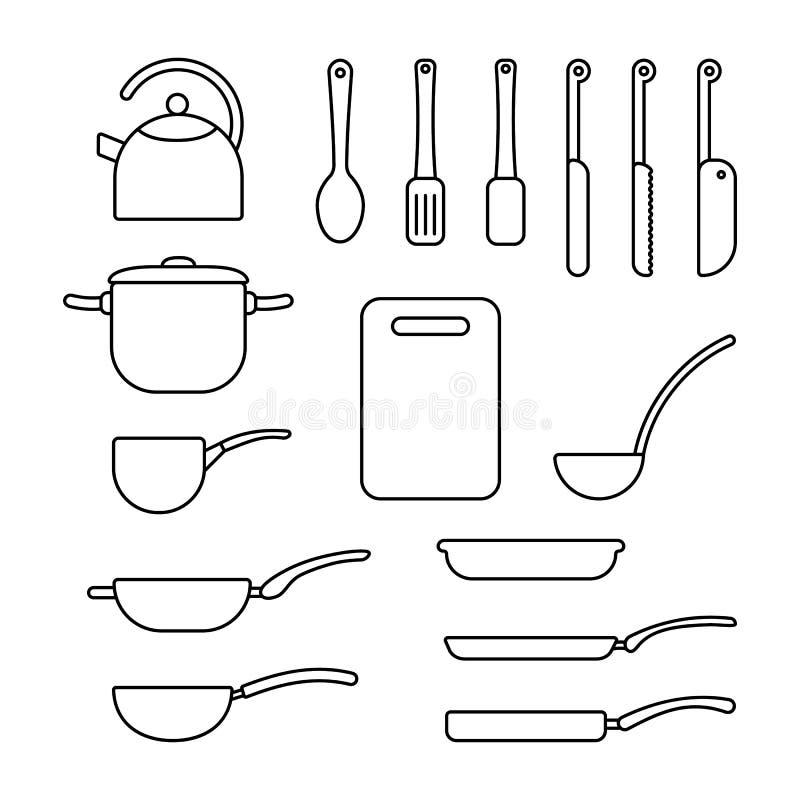 Dunne lijnreeks van cookware vector illustratie