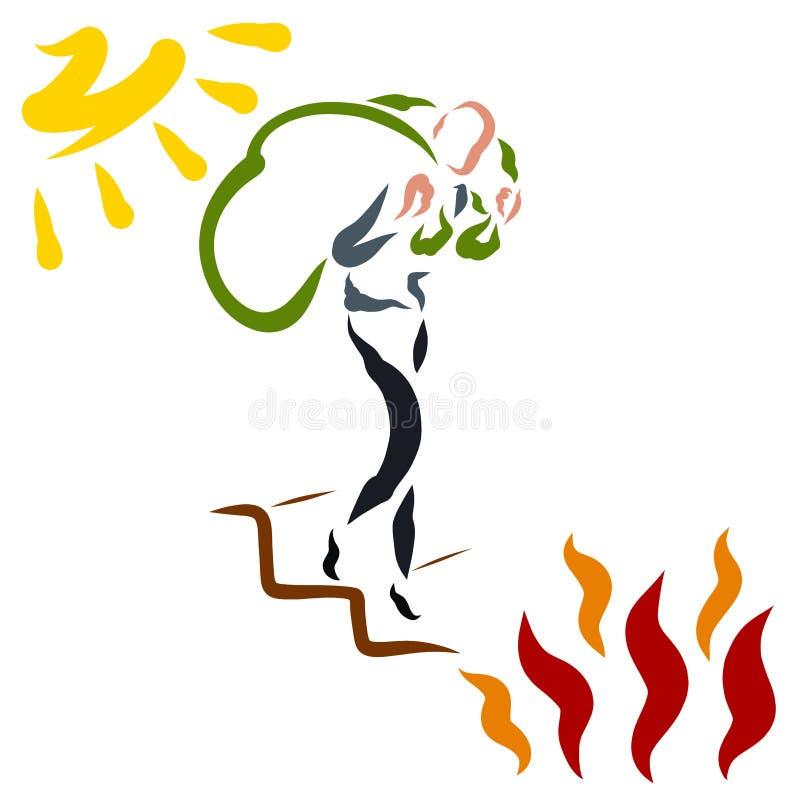 Dunne mens die onderaan de treden uit de zon aan de vlam van brand komen vector illustratie
