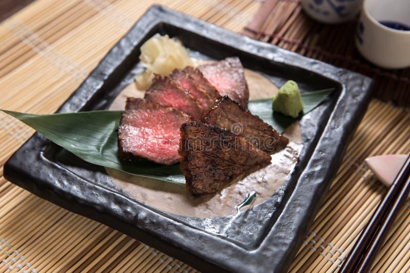 Dunne plakken van Kobe Beef stock afbeeldingen