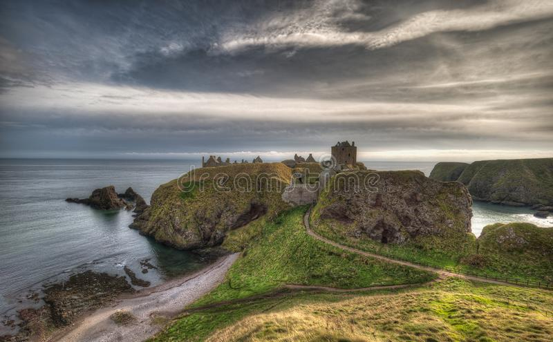 Dunnottar Castle in Scotland. Near to Aberdeen - United Kingdom.  royalty free stock photography