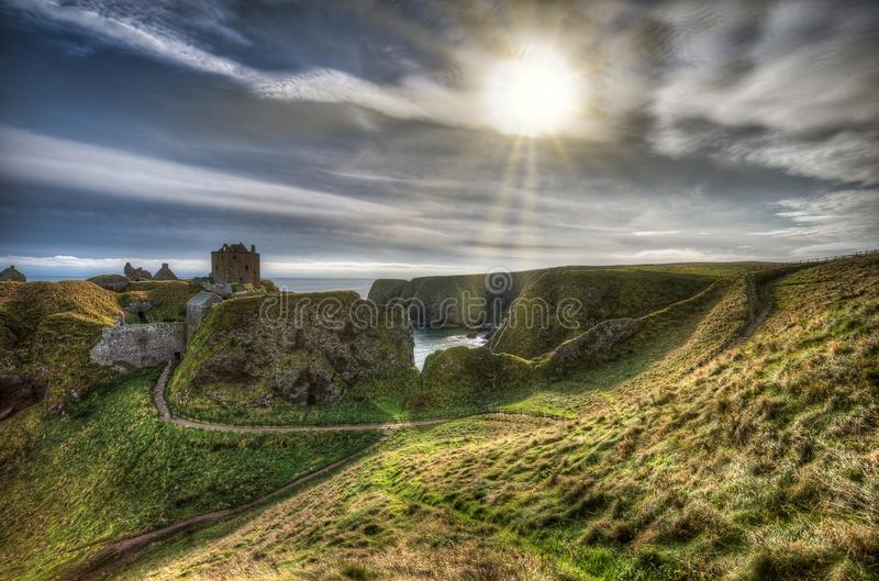 Dunnottar Castle in Scotland. Near to Aberdeen - United Kingdom.  stock photography