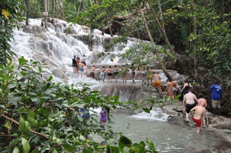 Dunns河在Ocho里奥斯,牙买加落 免版税库存照片