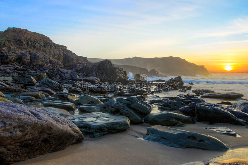Download Dunquin Bay Beach At Sunset In Ireland. Stock Photo - Image of beautiful, stone: 21406374