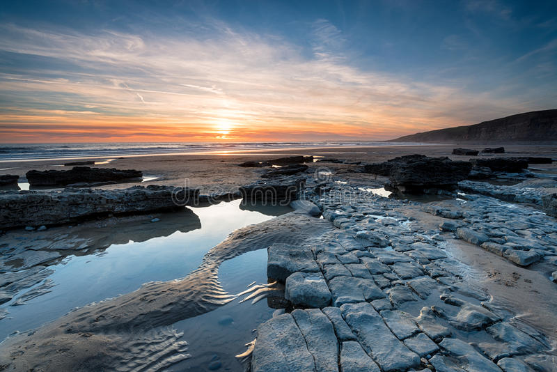 Dunraven Bay on the Coast of Wales. Limestone pavements on the beach at Dunraven Bay at Southerndown in the Vale of Glamorgan in south Wales royalty free stock image