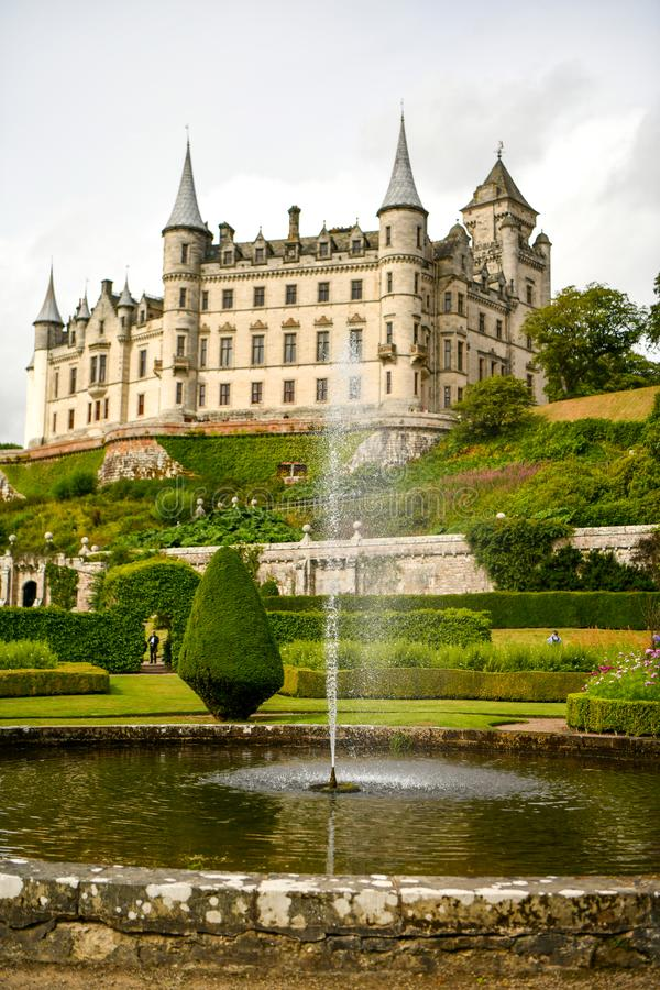 Dunrobin城堡苏格兰英国看法  免版税库存图片