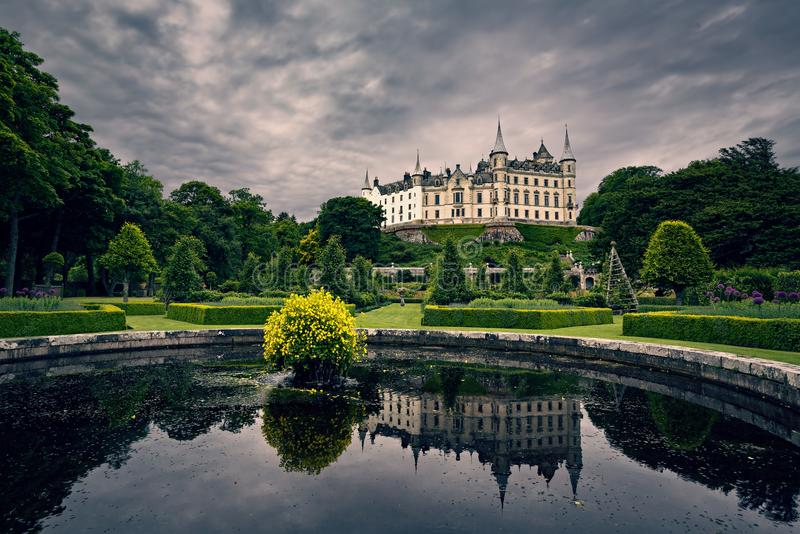 Dunrobin Castle. SCOTLAND - JULY 6, 2016:  at Golspie in the Highlands of Scotland, seen from the gardens stock photo