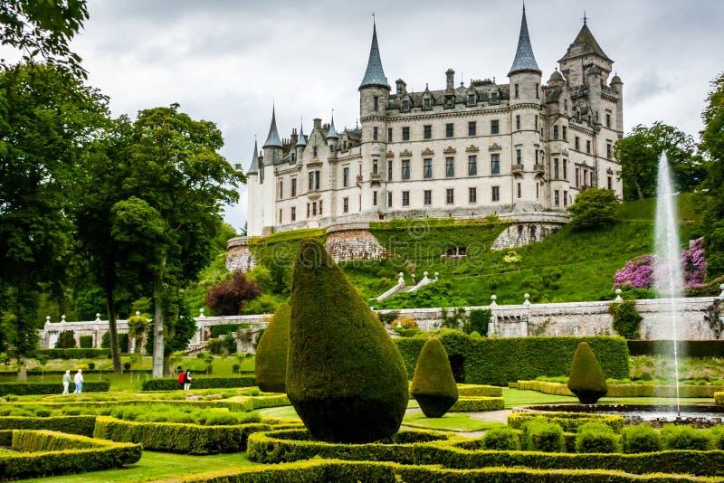 Dunrobin slott i högländerna av Skottland arkivfoto