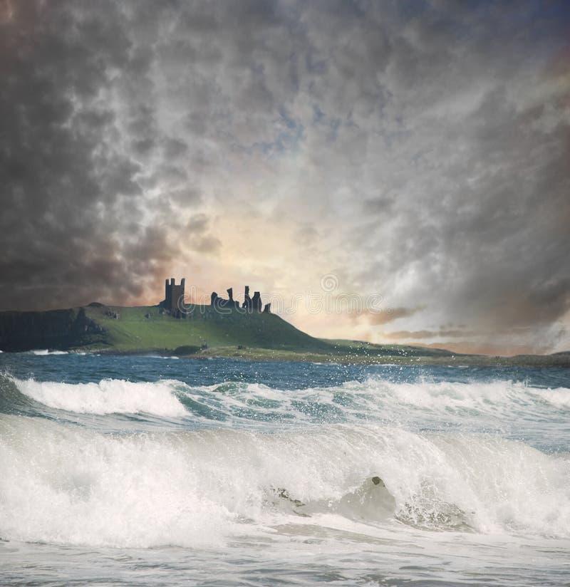 Download Dunstanborough Castle stock image. Image of evening, crash - 25156991