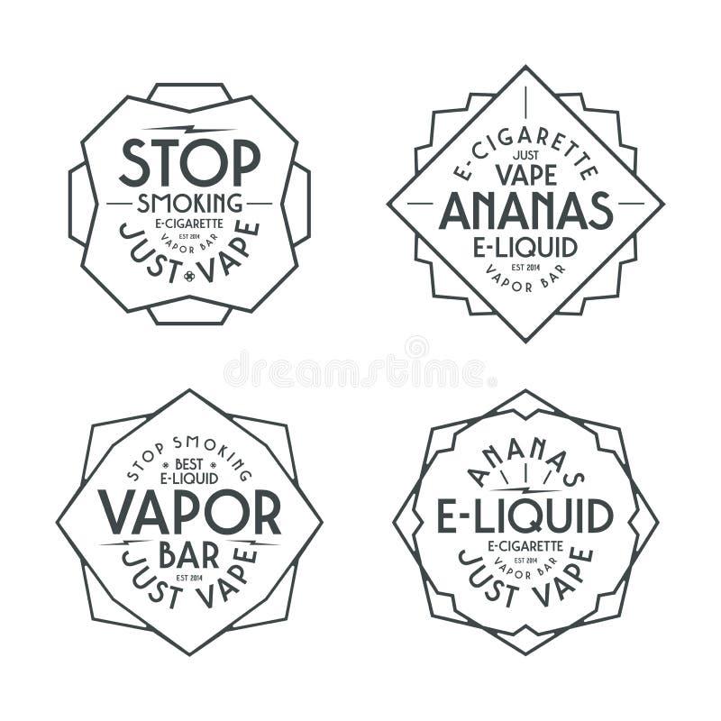 Dunststången och vape shoppar etiketter stock illustrationer