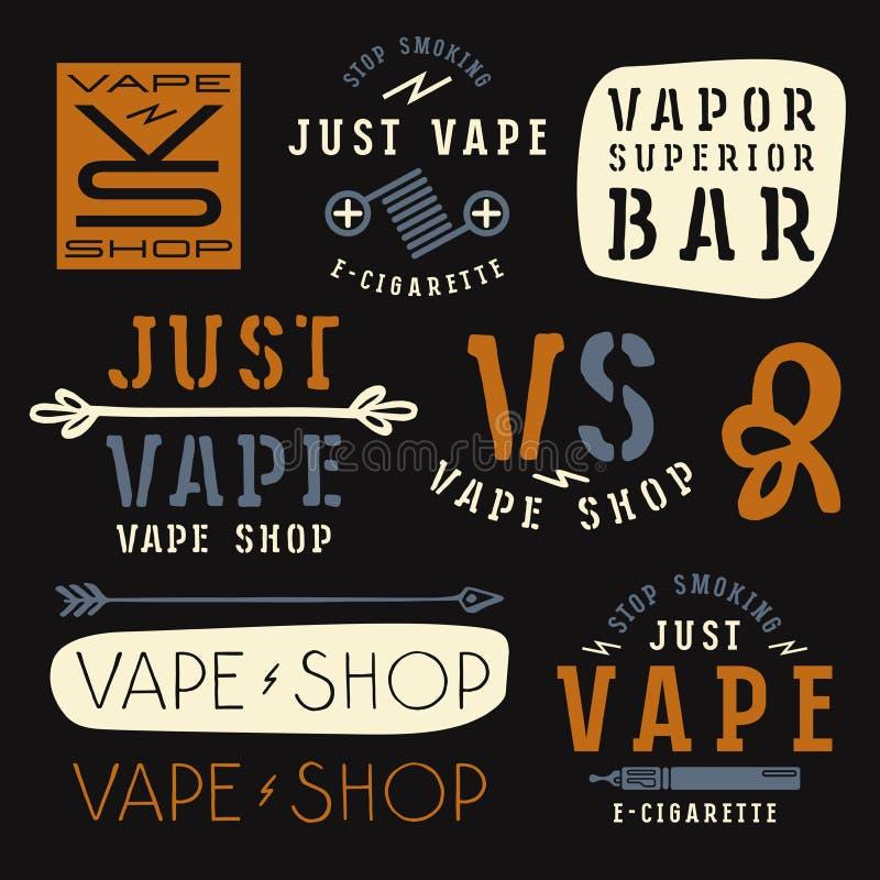 Dunststången och vape shoppar etiketter vektor illustrationer