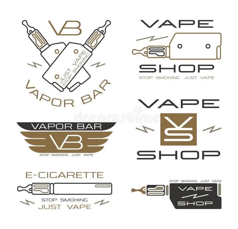 Dunststången och Vape shoppar logo royaltyfri illustrationer
