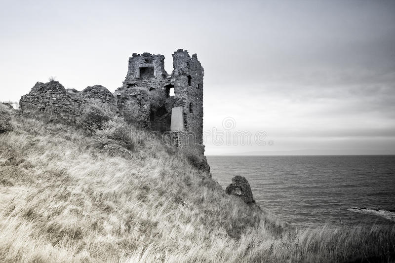 Dunure Castle in Black and White royalty free stock photos