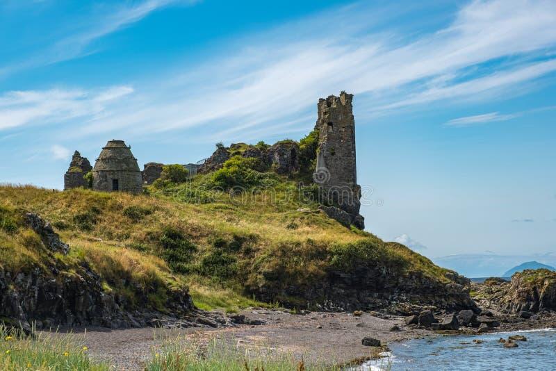 Dunure kasztelu ruiny i Niewygładzony wybrzeże Wykładają w Szkocja Outlander ekranizacji lokacji Z swój Niewygładzonymi Dennymi D obrazy royalty free