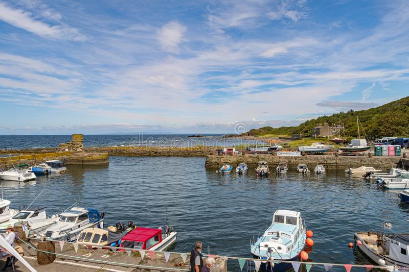 Dunure in Scotland Outlander Filming Location having a Festival of the Sea Open day and Busy with many visitors to this Popular. Dunure, Scotland, UK - July 19 royalty free stock photos