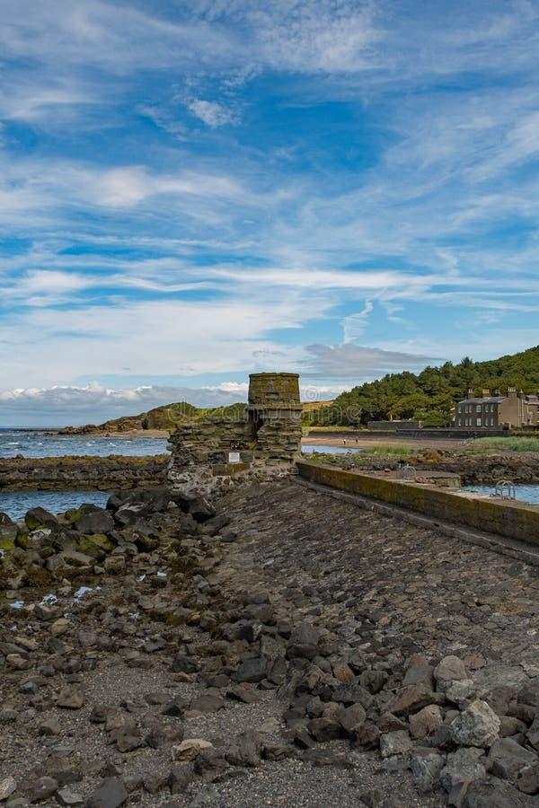 Dunure w Szkocja Outlander ekranizacji lokacji i swój Niewygładzonych Dennych defences zdjęcie royalty free
