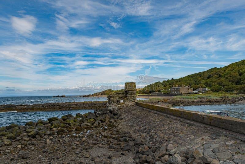 Dunure w Szkocja Outlander ekranizacji lokacji i swój Niewygładzonych Dennych defences zdjęcia stock