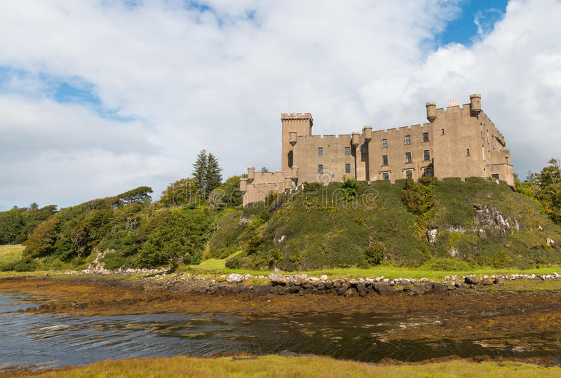 Dunvegan Castle. Impressive medieval Dunvegan Castle of the Clan MacLeod in Dunvegan, Scotland royalty free stock images