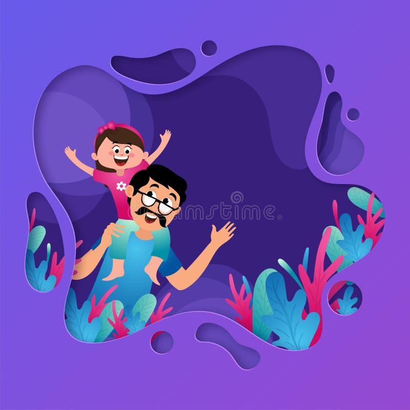 Duo heureux de père et de fille sur le fond pourpre de coupe de couche illustration stock